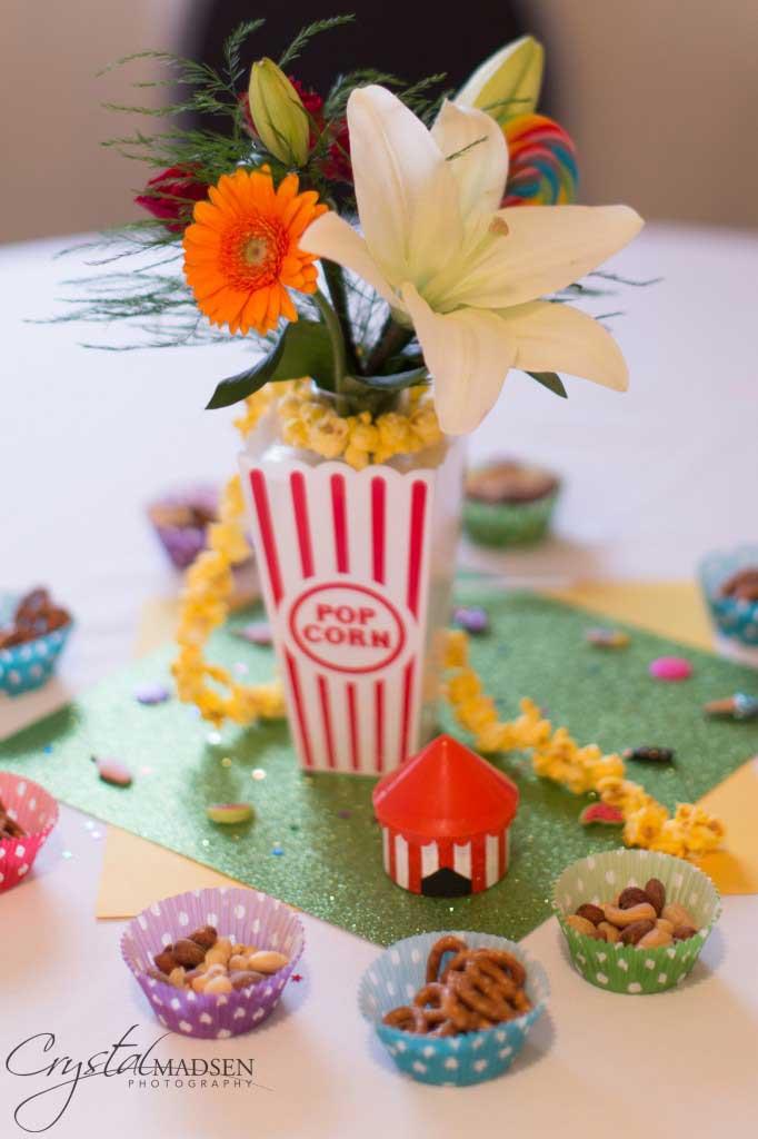 Carnival themed spokane wedding centerpiece