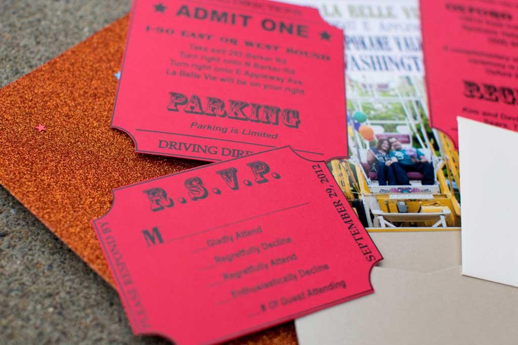 Carnival themed spokane wedding invitations