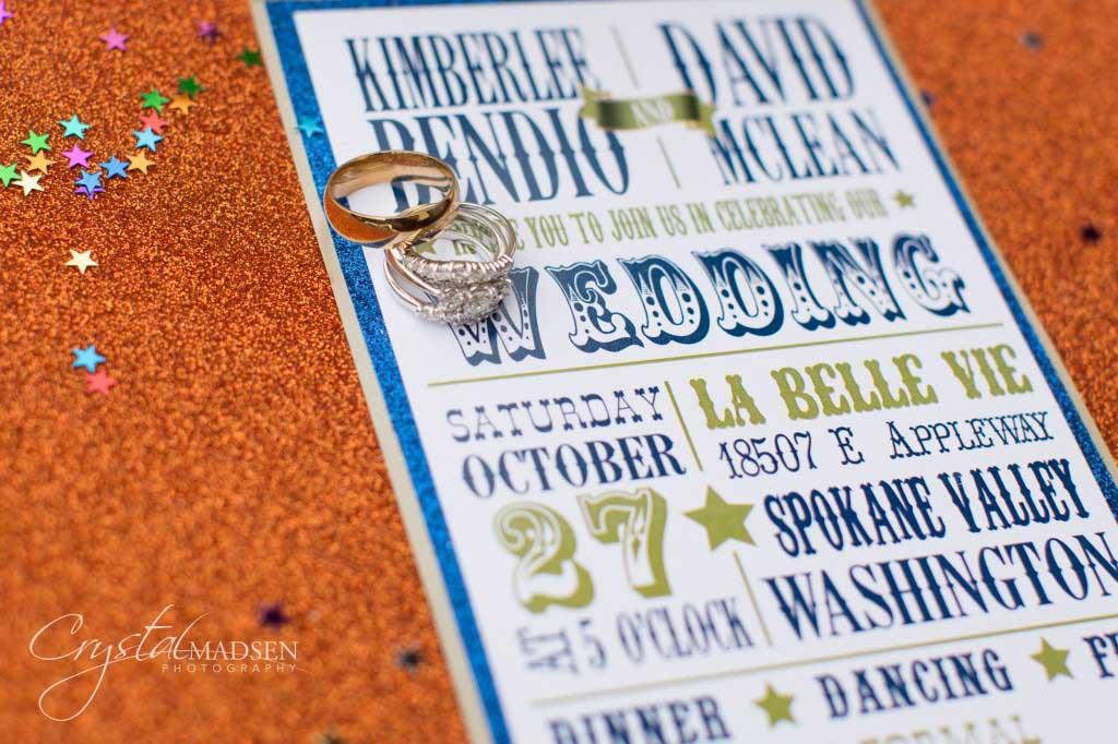 Carnival spokane wedding invitation