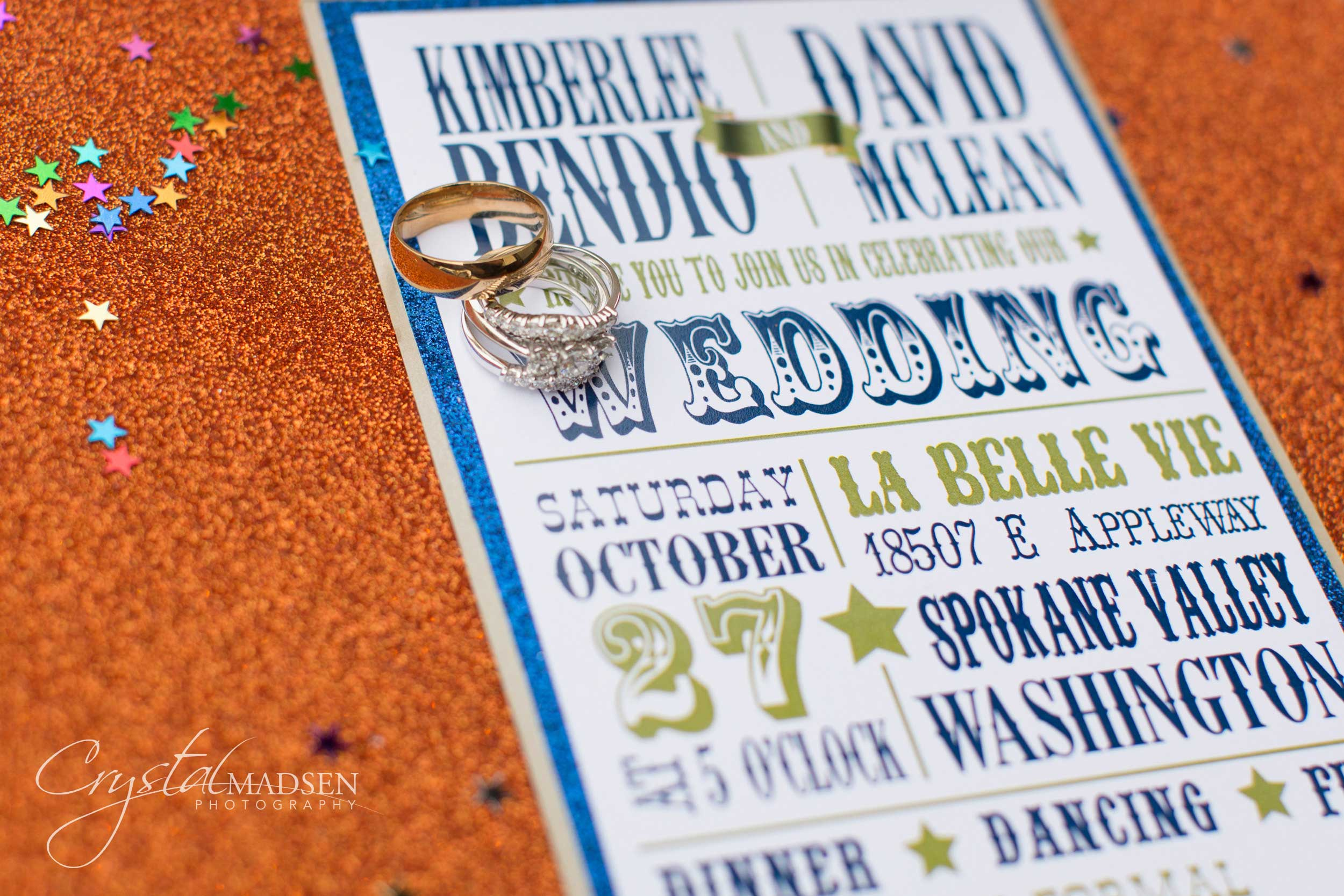 Carnival spokane wedding invitation