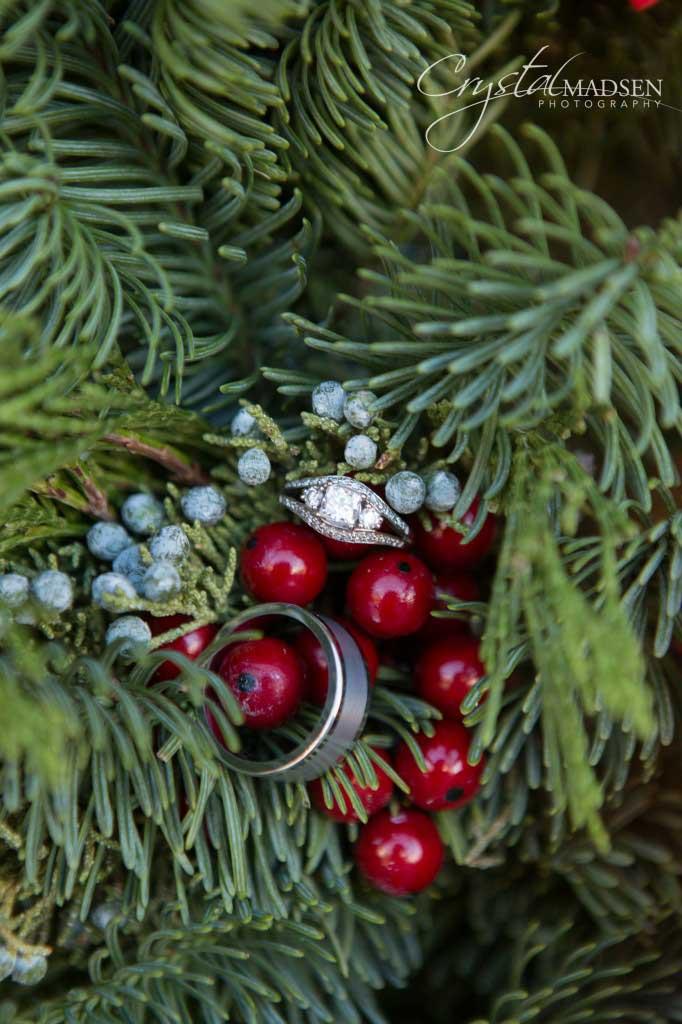 Wedding Rings in a wreath