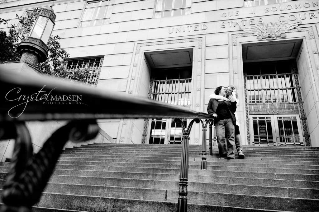 Black and white engagmenet photos