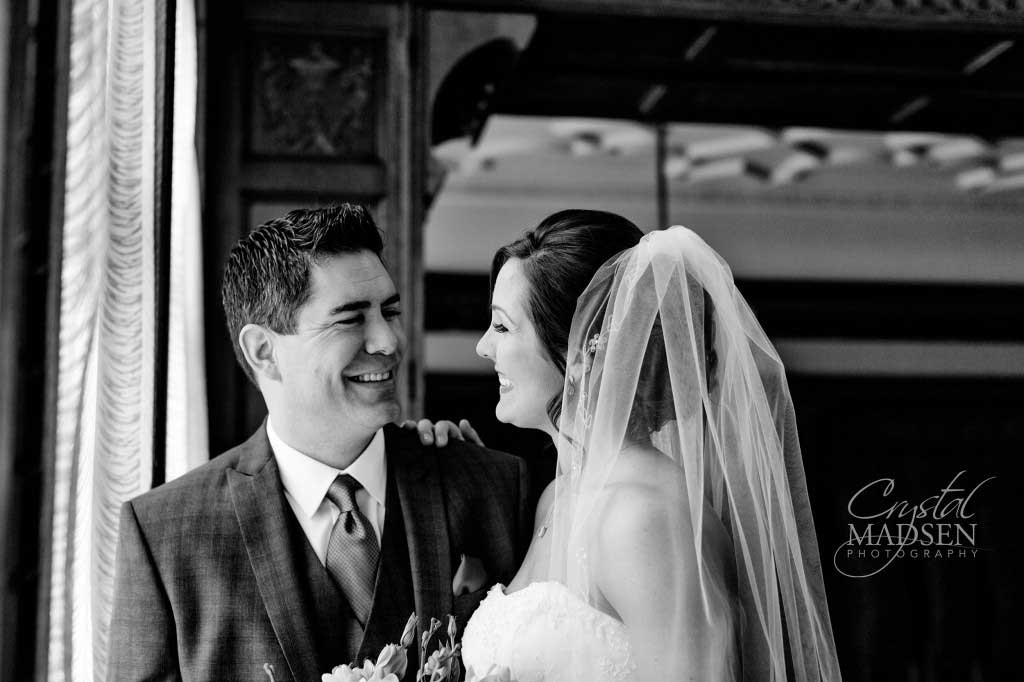Black and white candid wedding photo