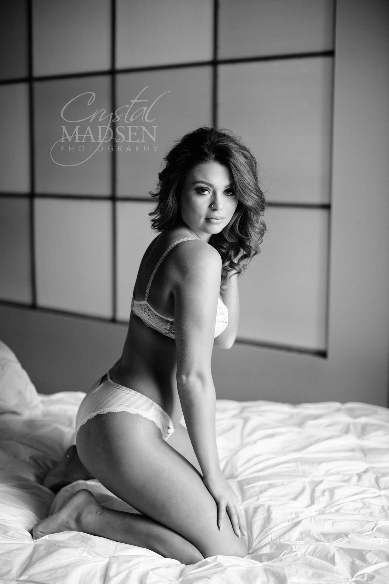 black and white sexy boudoir