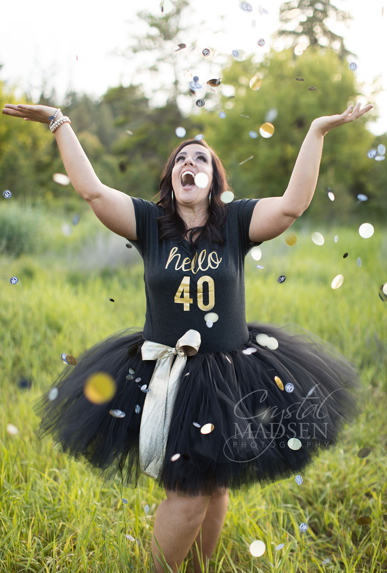 confetti tossing birthday girl