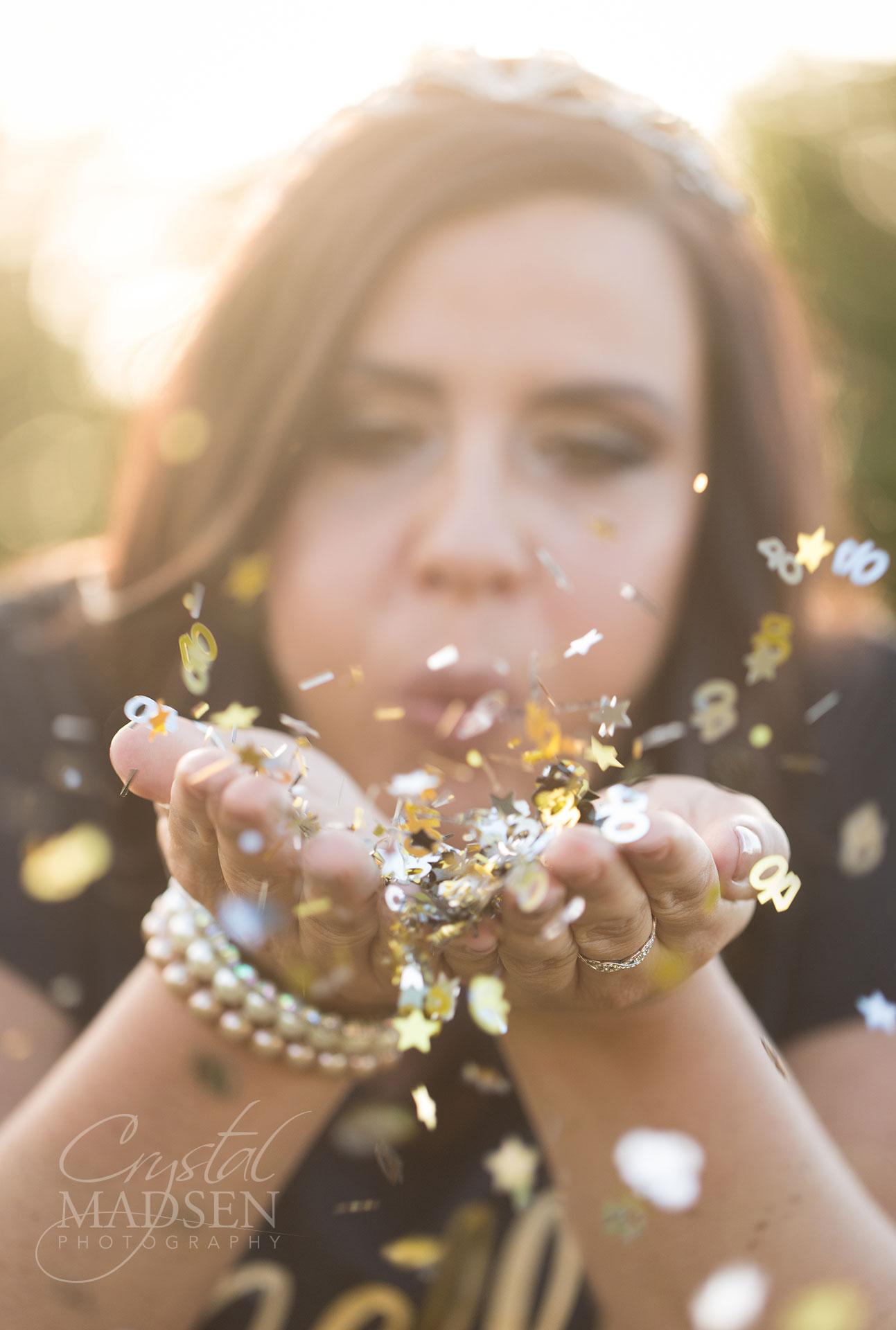 Blowing confetti birthday