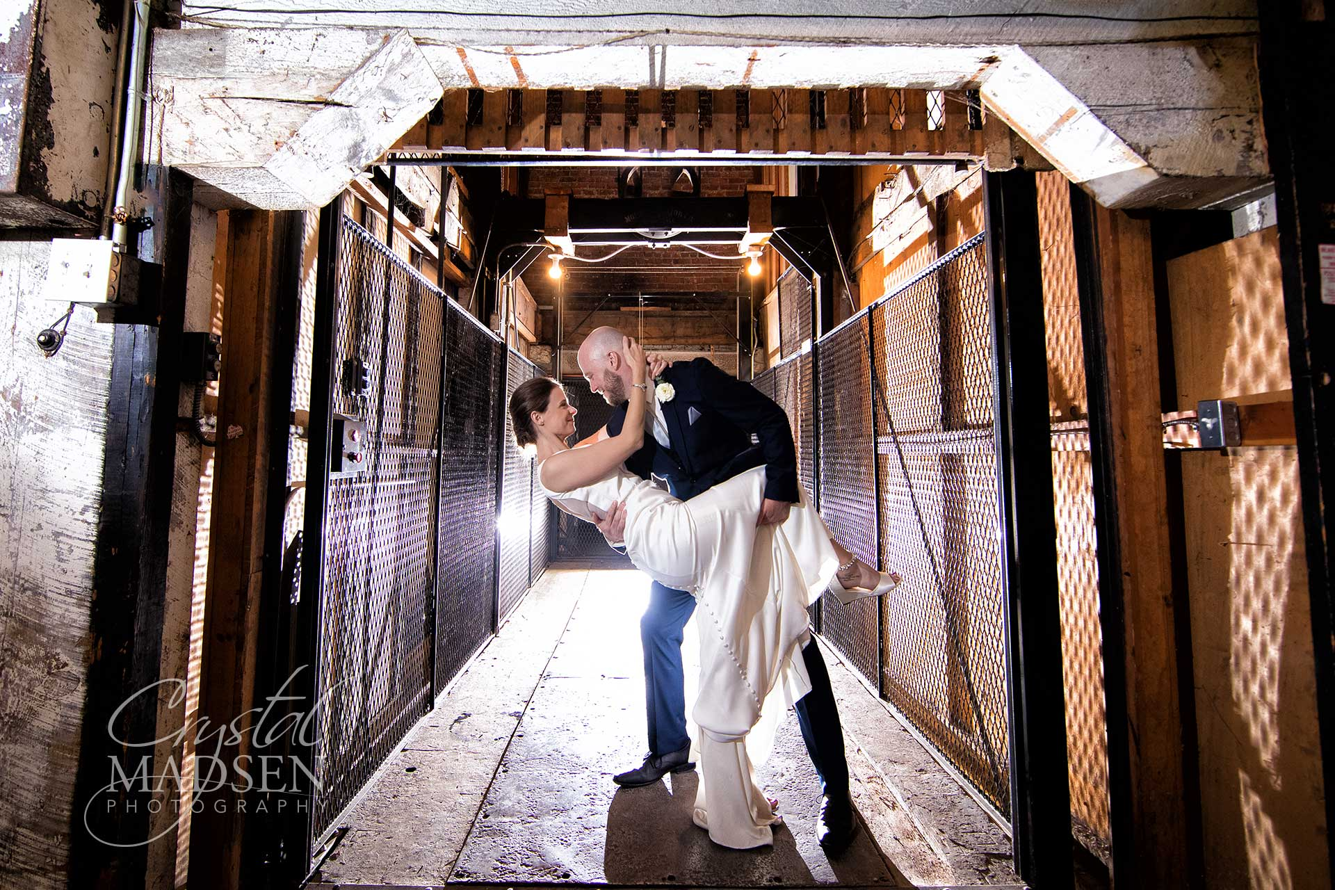 dynamic wedding photo in barrister winery