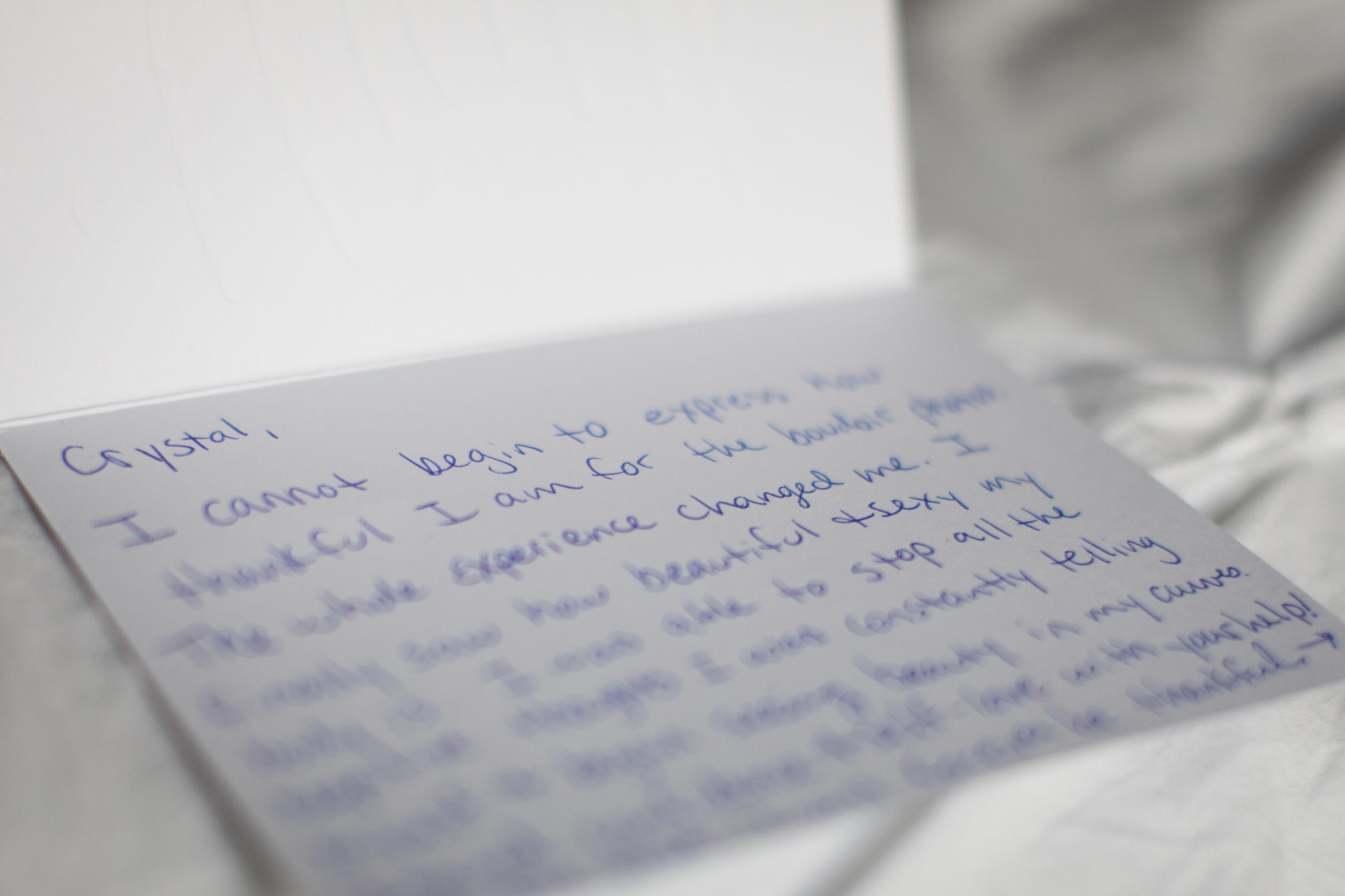 inspiring thank you note from a boudoir client to spokane photographer crystal madsen